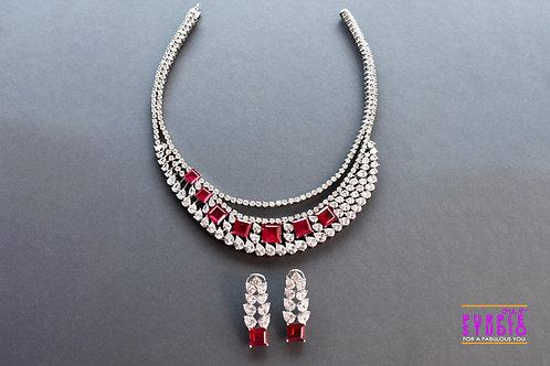 Stunning Indo Western Red and White AD  Necklace  Set
