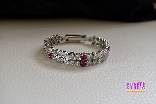 Princess Adjustable Bracelet in CZ and Pink Semi Precious Stone