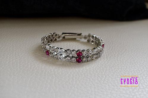 Princess Adjustable Bracelet in CZ and Pink Semi Precious Stone