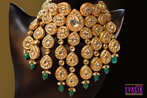 Stunning  Bridal Set in Kundan with Green Beads