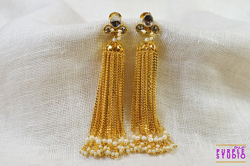 Sparkling Golden Waterfall Earring