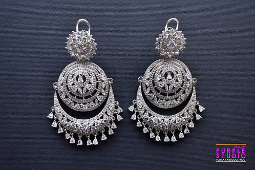 Magnificient Chandbali in white CZ stones