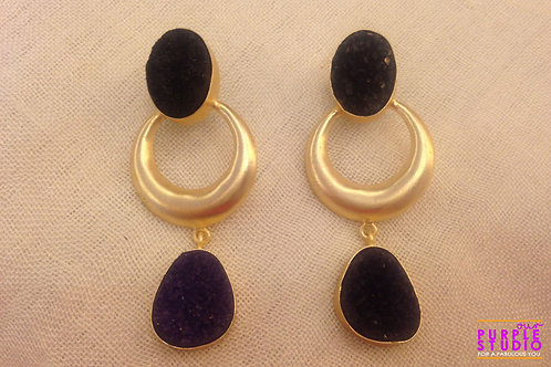 Smart Rough Stone Earring in Amethyst Color