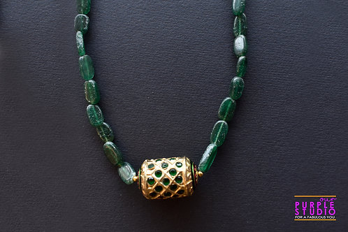 Green Bead Necklace with a Golden Pendant