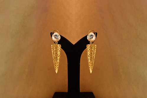 Party Wear Conical Golden Spiral Earrings