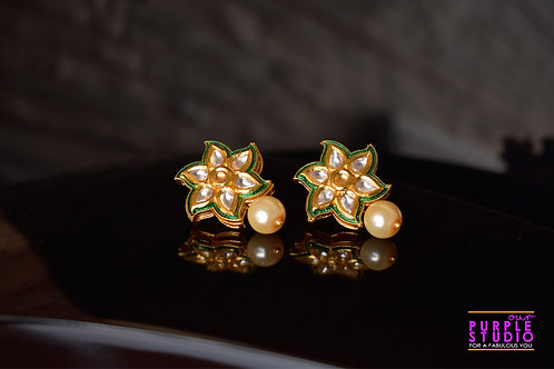 Floral Kundan Earring with a Pearl Drop