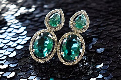 Sparkling Princess Cut Earring in Aqua Blue Stone