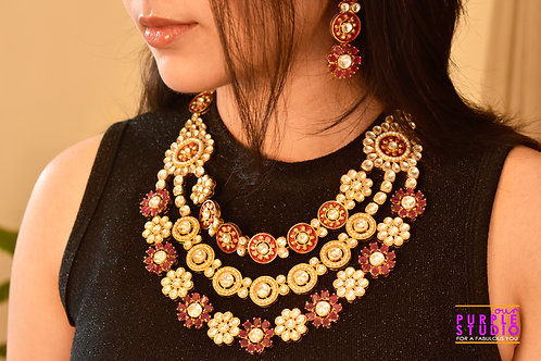 Royal Multi Layered Necklace Set Pink and Golden Kundan stones