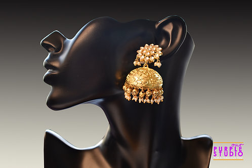 Golden Floral Kundan Jhumka with Pearl Drop