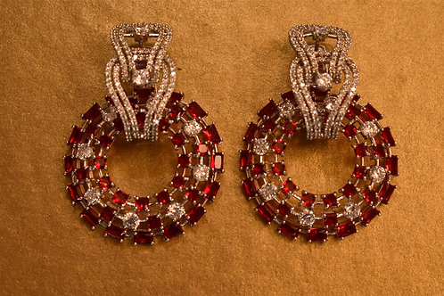 Gorgeous Party Wear Earrings with Red and White AD stones