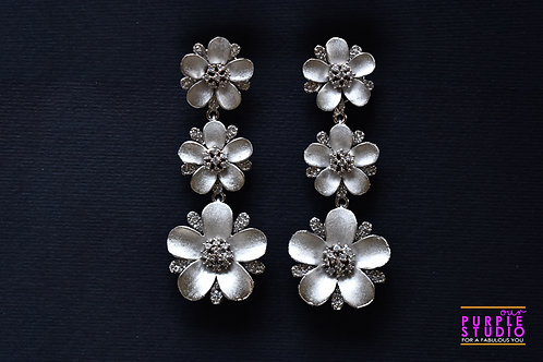 Sleek Metallic Grey Floral Danglers