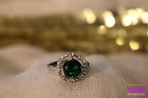 Gorgeous Green Stone Ring with a White Stone Halo