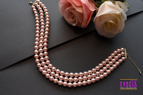 Gorgeous Indo Western Peach Color Pearl Choker