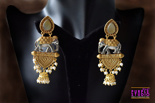 Statement  Golden Earrings with Tiny Elephant