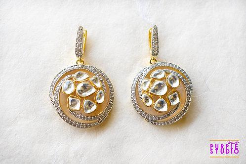 Beautiful Golden Drop in Kundan and CZ stone