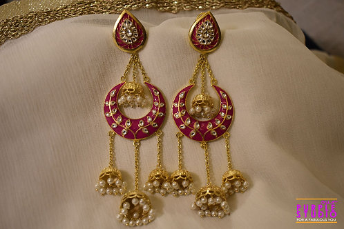 Pretty Pink Meenakari Long Jhumkas