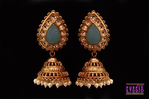 Exquisite Golden Jhumka in  Green Semi Precious Stone