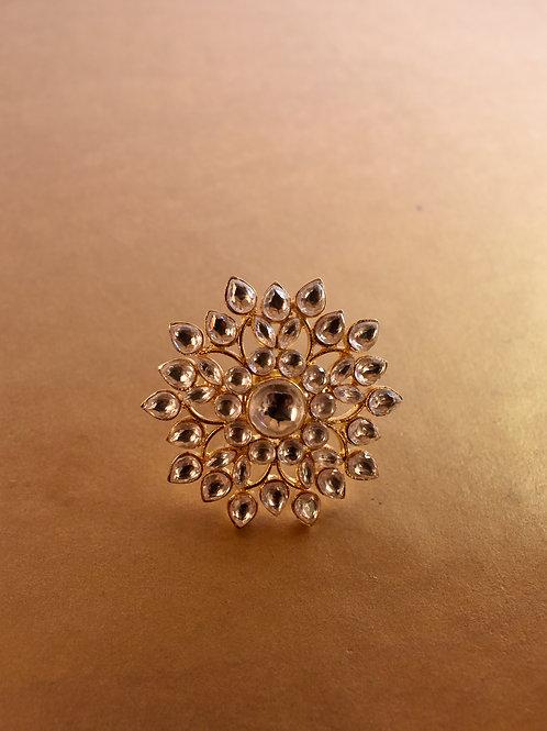 Stunning Golden Kundan Floral Ring