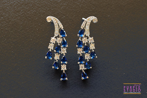 Designer CZ Earring in Blue and White Stone