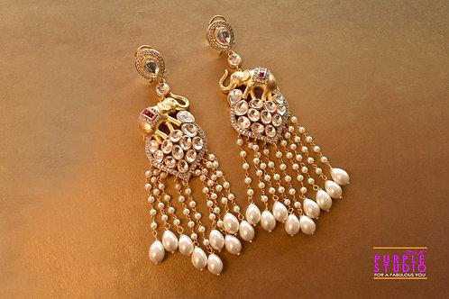 Statement Kundan Earrings with Tiny Elephant