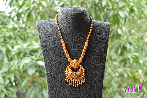 Gorgeous Golden Laxmiji Temple Necklace Set