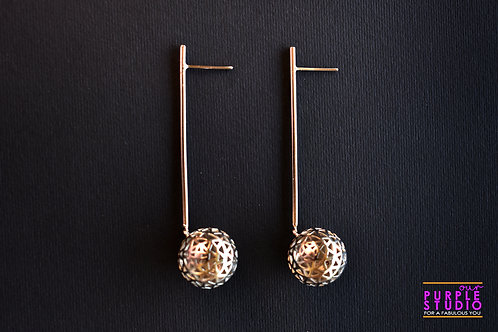 Fashionable Silver Stick Danglers with Silver Ball