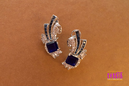 Ascetic Blue Cocktail Earring in Silver Polish