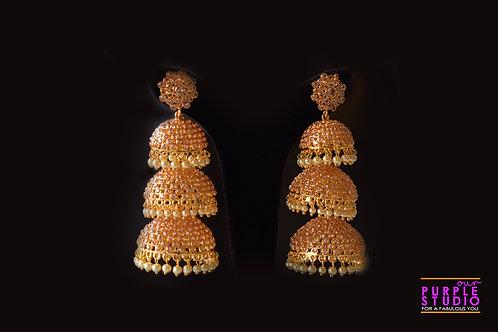 Ravishing Golden Polki Multiple Jhumka