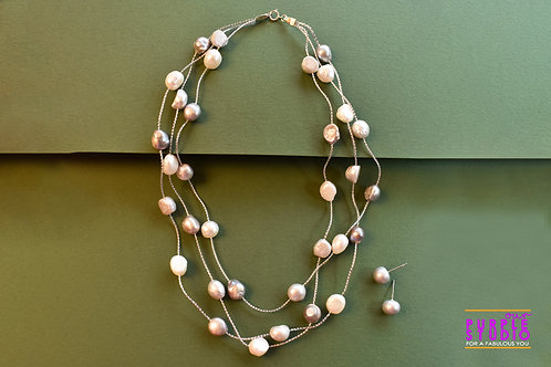 Youthful Zardosi  Pearl Necklace Set