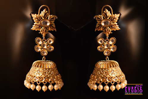 Statement Golden Bridal Jhumkas in Rich Kundan Stones