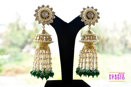 Gorgeous Kundan Danglers with White and Green Pearl Tassel