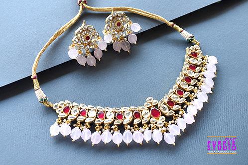 Gorgeous Pink Kundan Necklace Set