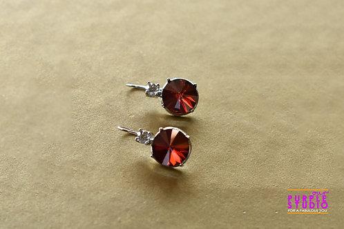 Light Wear Earring with Dark Red Colour Semi Precious Stone Drop