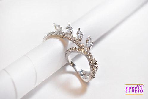 Double Finger White CZ Ring