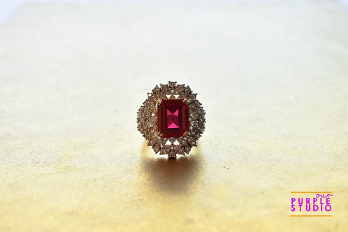 Sparkling Red Onyx and AD Cocktail Ring
