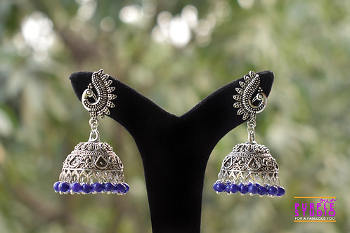 Blue Color Silver tone Jhumka