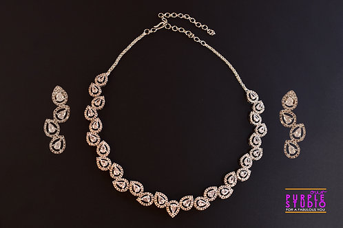 Enchanting White CZ Setting Necklace Set