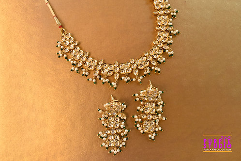 Delicate Kundan Necklace Set in Green and White Beads