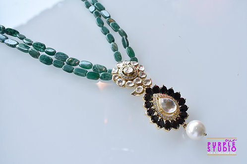 Ethereal Green Beads Necklace with Kundan Pendant