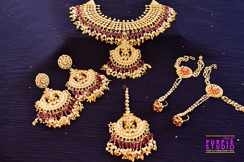Stunning Kundan Bridal Set in Red