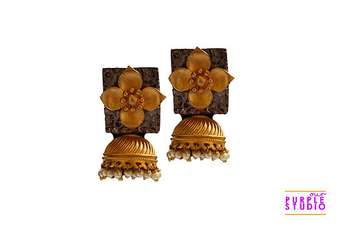 Charming  Golden Floral Jhumka in with antique cover