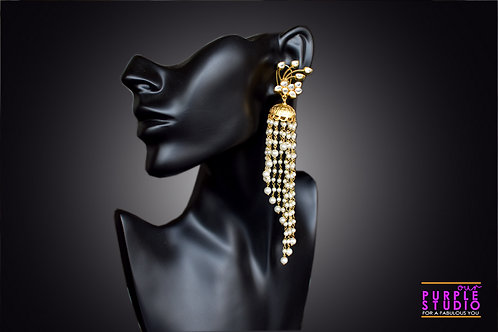 Long Flowing Golden Shower Earring