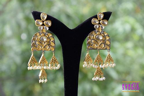 Antique Golden Kundan Danglers