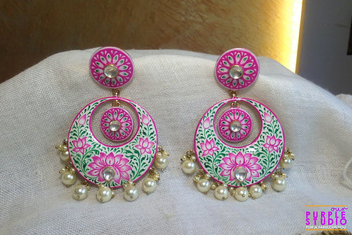 White and Pink Painted Chandbali