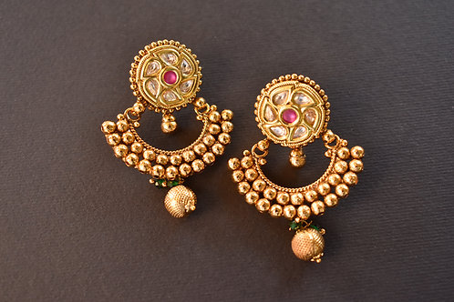 Charming  Golden Kundan Earrings with a touch of Pink