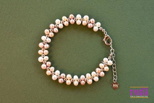 Flawless White and Peach Pearl Bracelet