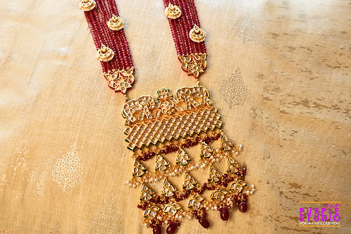 Gorgeous Red Beaded Kundan Necklace Set with a heavy Pendant