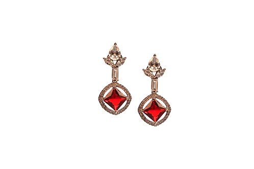 Ascetic Red AD Earring in Silver Polish