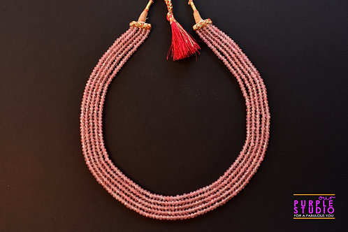 Indo Western Necklace in  Off White Semi Precious Beads
