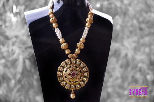 Divine White Beaded Necklace with Golden Pendant